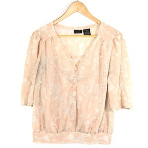 Nicole Miller Blush Pink Floral Women's Blouse